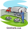 Vector Clip Art graphic  of a petroleum truck delivery