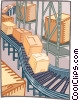 Vector Clip Art image  of a packages on a conveyor belt