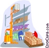 warehouse with forklift Vector Clip Art picture