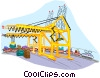 Vector Clip Art graphic  of a rail cargo transportation