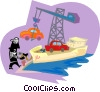 automobile being loaded onto a cargo ship Vector Clip Art image