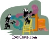 Vector Clip Art image  of a ventilation system repairs