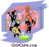Vector Clip Art image  of a construction workers