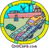 automobiles being offloaded from a ship Vector Clip Art graphic