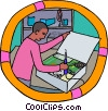 electronics technician working with equipment Vector Clipart picture