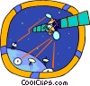 space satellite beaming signals to earth Vector Clip Art image