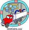 petroleum truck unloading gasoline at a station Vector Clipart image