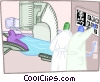 Vector Clip Art graphic  of a doctors taking patient x-rays