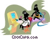 Vector Clip Art image  of a doctor with patient running on