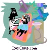 Vector Clip Art graphic  of a dentist and patient