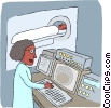 Vector Clip Art graphic  of a medical technician working