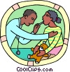 Vector Clipart graphic  of a young patient receiving a examination