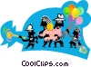 Vector Clip Art image  of a family outing