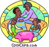 family sitting on a sofa with a piggy bank Vector Clip Art picture