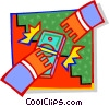 Vector Clip Art graphic  of a hands exchanging money