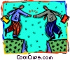 Vector Clip Art image  of a shaking hands across a great