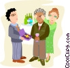 Vector Clip Art image  of a office retirement party