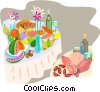 food and dining, a lavish feast Vector Clipart illustration