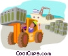 Vector Clip Art picture  of a forklift with shipping crates