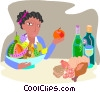 woman with fresh foods and wine Vector Clipart graphic