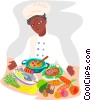 Vector Clipart illustration  of a chef with fresh ingredients