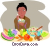 woman with fresh foods and wine Vector Clipart image