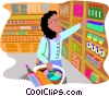 Vector Clipart picture  of a woman shopping in a grocery