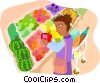 Vector Clipart graphic  of a Grocery shopping