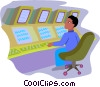 Vector Clip Art image  of a man monitoring systems