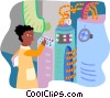 Vector Clip Art image  of a factory worker setting