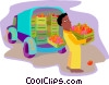 man unloading fresh fruits from a delivery van Vector Clip Art graphic