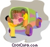 Vector Clipart image  of a fresh meats being unloaded