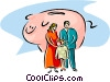 Vector Clipart picture  of a family finances