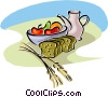 Vector Clipart graphic  of a fresh fruits and bread