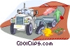 Vector Clip Art graphic  of a breakdown of a transport truck