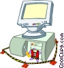 Vector Clip Art graphic  of a computer technical services