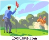 Vector Clip Art picture  of a Golfer chipping in from the