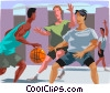 Vector Clip Art picture  of a Basketball players having a