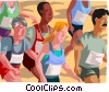 Vector Clipart graphic  of a Marathon race