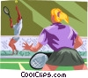 Tennis players in a games Vector Clip Art picture