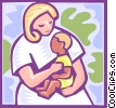 Vector Clip Art graphic  of a Mother with child