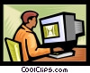 Vector Clipart picture  of a man working at computer