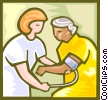 Vector Clip Art graphic  of a patient with blood pressure