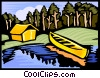 Vector Clipart graphic  of a Camping site with tent and