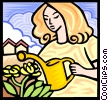 woman watering flowers Vector Clipart illustration