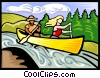 Vector Clipart graphic  of a canoeists