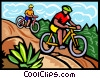Vector Clip Art image  of a Mountain bikers