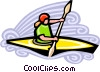 Vector Clip Art graphic  of a kayaking