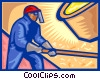 Vector Clip Art image  of a Stoking the furnace, industry