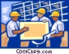 Vector Clip Art image  of a Men at construction site